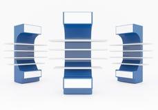 Estantes azules Imagen de archivo libre de regalías