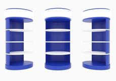 Estantes circulares azules Fotografía de archivo libre de regalías