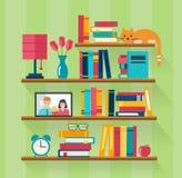 Estantes com os livros no interior da sala ilustração royalty free