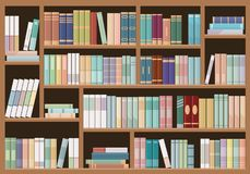 Estantes completamente dos livros Conceito da biblioteca e da livraria da educação ilustração stock