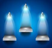 Estantes con el proyector de 3 LED Imágenes de archivo libres de regalías