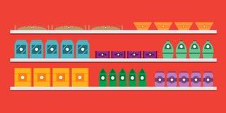 Estantes con las mercancías en una panadería, un café o un restaurante Imagen de archivo libre de regalías