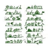 Estantes con los iconos de la pesca, bosquejo para su diseño Imagen de archivo libre de regalías