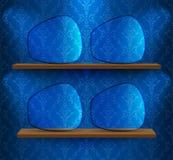 Estantes con los placeholders de cristal Fotografía de archivo libre de regalías