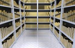 Estantes con oro Foto de archivo libre de regalías