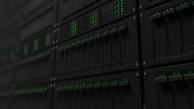 Estantes de funcionamiento del servidor con las luces LED verdes Cgi Imágenes de archivo libres de regalías