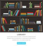 Estantes de la biblioteca con los libros permanentes y de mentiras libre illustration