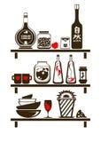 Estantes de la cocina Fotos de archivo