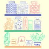 Estantes de la cocina o de la despensa con las mercancías libre illustration