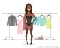 Estantes de la suspensión y mujeres afroamericanas negras ilustración del vector