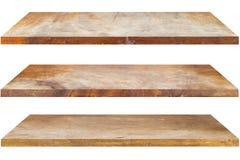 Estantes de madera aislados Imagenes de archivo