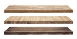 Estantes de madera rústicos aislados Fotos de archivo libres de regalías