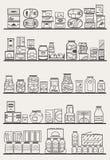 Estantes de una tienda con las mercancías Fotografía de archivo libre de regalías