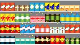 Estantes del supermercado con las guirnaldas Imagen de archivo