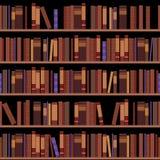 Estantes inconsútiles de la biblioteca con los libros viejos Imagen de archivo libre de regalías