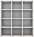 Estantes vacíos en grayscale representación 3d Imagenes de archivo