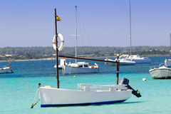 Estany des peix in Formentera lake anchor boats Stock Photography