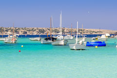 Estany des peix in Formentera lake anchor boats Royalty Free Stock Photo