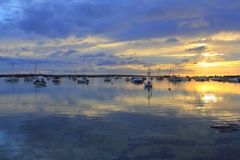 Estany des peix sunset lake Formentera Royalty Free Stock Images