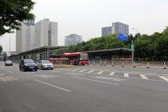 Estação brilhante de Guangzhou no meio da estrada Imagens de Stock Royalty Free