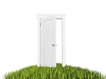 Estar aberto ao mundo novo, tapete da grama No fundo branco Imagem de Stock Royalty Free