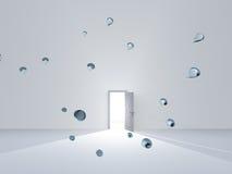 Estar aberto na sala branca com gotas da água ilustração royalty free