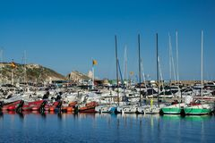 Estartitjachthaven op Costa Brava Stock Foto