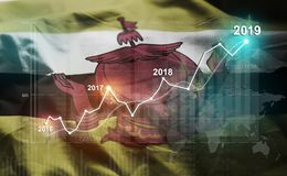 Estatística crescente 2019 financeiro contra a bandeira de Brunei Darussalam ilustração do vetor