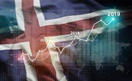 Estatística crescente 2019 financeiro contra a bandeira de Islândia ilustração royalty free