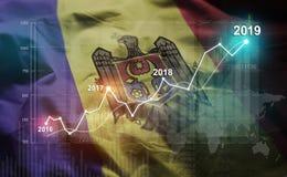 Estatística crescente 2019 financeiro contra a bandeira de Moldova ilustração stock