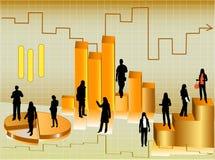 Estatísticas com silhuetas dos homens de negócios Ilustração Stock