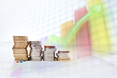 Estatísticas do dinheiro Imagens de Stock
