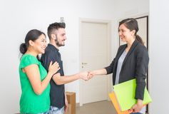 Estate agent close a contract Stock Photo