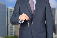 estate agent giving house keys outside Royalty Free Stock Photography