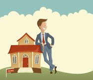 Estate agent and house. Vector illustration of man holding the key and leaning on the house Stock Photo