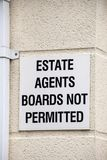 Estate agents boards not permitted warning sign UK Royalty Free Stock Images