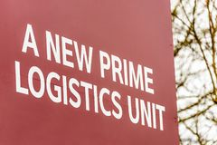 Estate agents industrial logistics warehouse and office units to sign New Prime Logistics Unit.  Royalty Free Stock Image