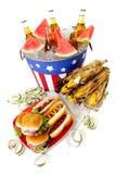 Estate: Alimento del partito di estate con le fiamme Immagine Stock Libera da Diritti