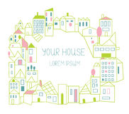 Estate background - houses card Royalty Free Stock Photos