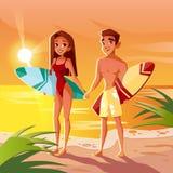 Estate che pratica il surfing nell'illustrazione di vettore dell'oceano delle Hawai illustrazione vettoriale