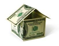 Estate concept. House made of USA dollar bank notes Royalty Free Stock Photos
