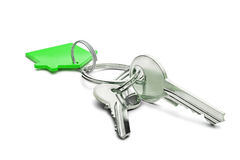 Estate concept, green key ring  and keys on isolated background Stock Photos
