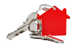 Estate concept, red key ring and keys on isolated background royalty free stock image