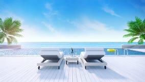Estate di rilassamento, posti letti per ricoveri giornalieri sulla piattaforma prendente il sole e sulla piscina privata con la s illustrazione vettoriale