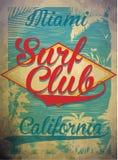Estate di vettore di concetto del club della spuma di Miami Beach che pratica il surfing retro distintivo Immagine Stock