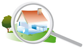 Estate diagnosis. Drawing of a house exterior and interior with a magnifying glass to an energy audit Stock Photos