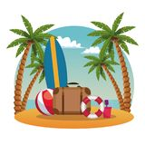 Estate e fumetto della spiaggia Fotografie Stock