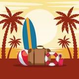 Estate e fumetto della spiaggia Immagine Stock