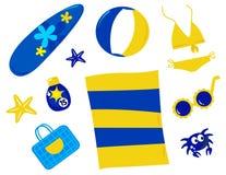 Estate ed icone ed accessori della spiaggia - retro Fotografia Stock Libera da Diritti