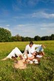 estate felice di picnic del prato delle coppie Fotografia Stock Libera da Diritti